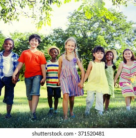 Diverse Children Friendship Playing Outdoors Concept