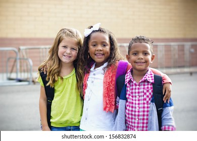 Diverse Children Going to Elementary school