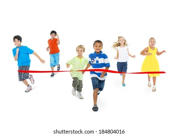 Diverse Children Running Towards the Finish Line