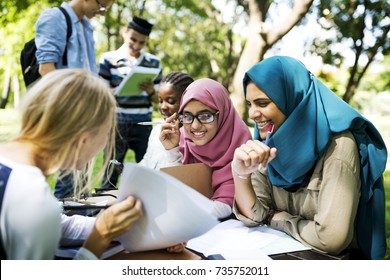 Diverse children studying outdoor