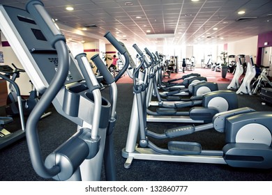 diverse equipment and machines at the gym room
