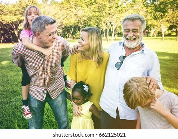 Diverse Family Park Happy Together