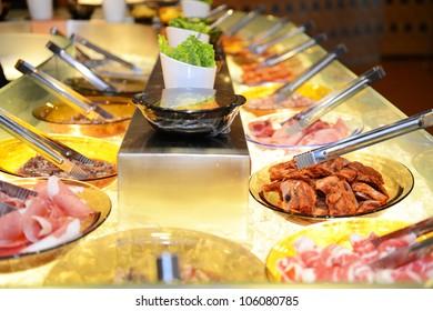 diverse food essentials in Korean restaurant.