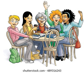 A diverse group of 5 women sit around a bistro table with coffees and books.  They are looking towards the viewer with smiles, welcoming him/her to the one empty chair at the table.