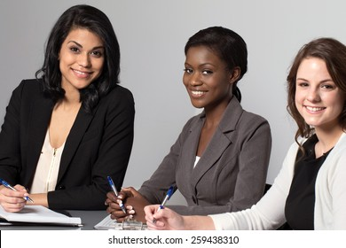 Diverse group of business women.