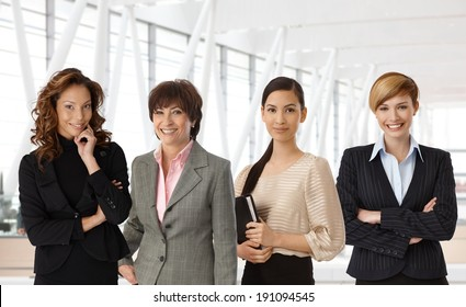 Diverse group of businesswomen of different ethnicity and age at office.