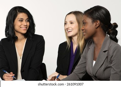 Diverse group of businesswomen working as a team.