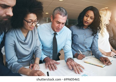 Diverse group of focused corporate colleagues discussing paperwork together while having a meeting at a table in a modern office building