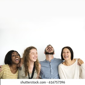 Diverse group of friends laughing out loud