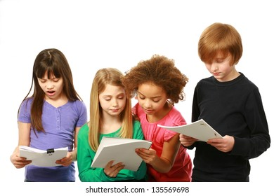 diverse group of kids reading scripts