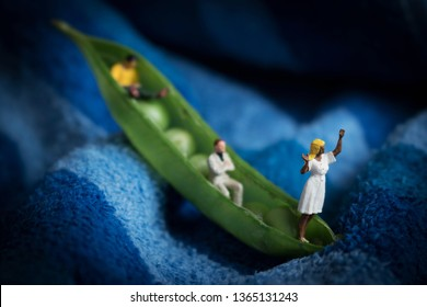Diverse group of miniature people in a pea pod.Coworkers going on a new venture or journey together.Green entrepreneurs start a vegetarian or vegan food startup. Men & women using plant based product.