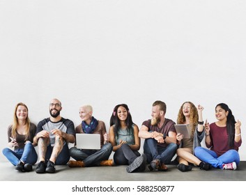 Diverse Group of People Community Togetherness Technology Concept