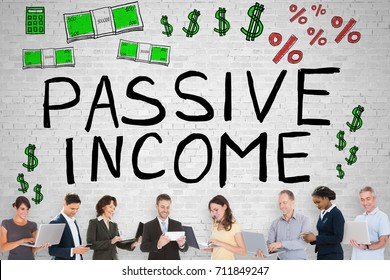 Diverse Group Of People In Front Of Passive Income