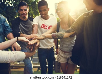 Diverse Group People Hands Pile Concept