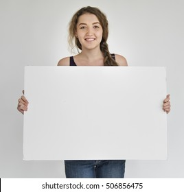 Diverse Group People Holding Blank Placard Concept
