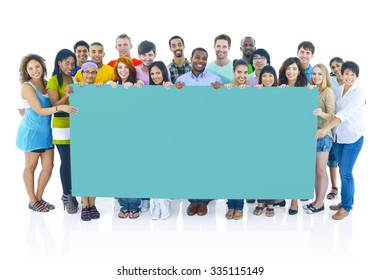 Diverse Group People Holding Placard Concept