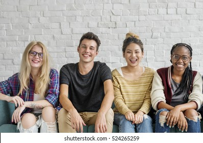 Diverse Group People Sitting Couch Concept