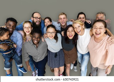 Diverse Group of People Together Studio Portrait