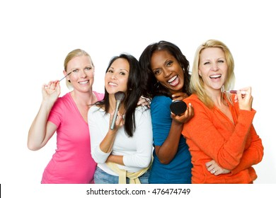 Diverse Group of Women Putting on Makeup.