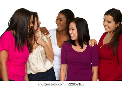 Diverse group of women talking and laughing.