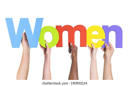 Diverse Hands Holding The Word Women