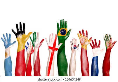 Diverse Hands Painted With National Flags