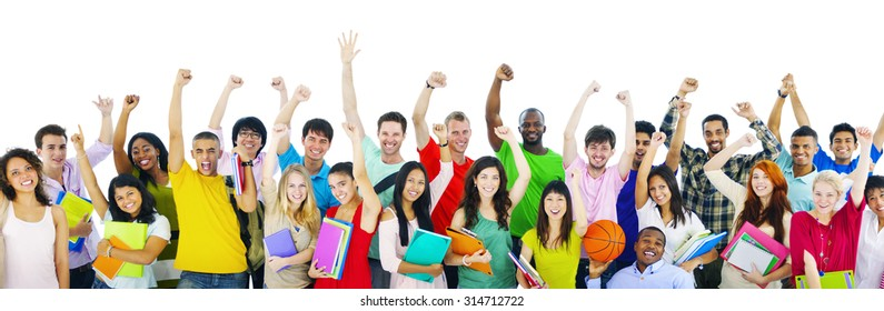 Diverse High School Students Arms Raised Concept