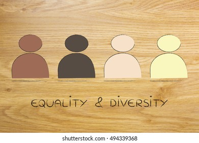 diverse and inclusive workplace concept: minimalistic illustration with multi ethnic team