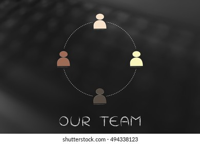 diverse and inclusive workplace concept: multi ethnic team (circle version)