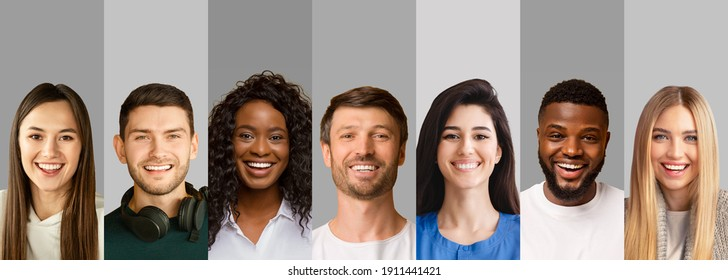 Diverse joyful people portraits in collage over grey studio backgrounds, panorama with copy space. Collection of male and female headshots smiling, showing positive emotions