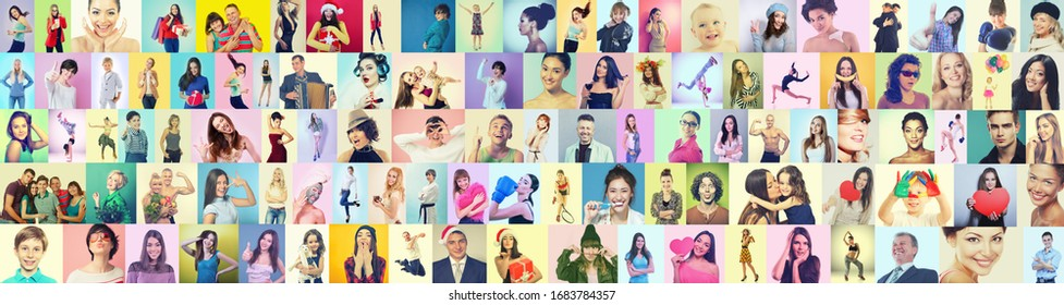 Diverse joyful persons of different age, gender and ethnicity.Collage of happy ecstatic gesturing happiness and success people on colored backgrounds. Human vivid emotions, facial positive expressions
