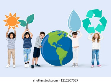 Diverse kids with environment icons