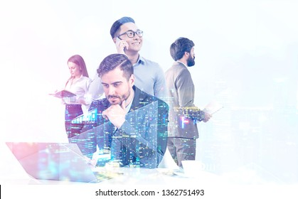 Diverse manager team working together with gadgets and documents over skyscrapers background with night cityscape. Concept of management and teamwork. Toned image double exposure mock up
