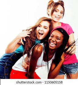 diverse multi nation girls group, teenage friends company cheerful having fun, happy smiling, cute posing isolated on white background, lifestyle people concept, african-american and caucasian