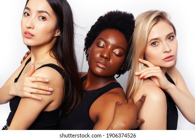 diverse multi nation girls group, teenage friends company cheerful having fun, happy smiling, cute posing isolated on white background, lifestyle people concept, african-american, asian and caucasian