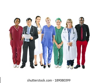 Diverse Multiethnic Cheerful Medical Team