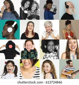 Diverse people collage collection with music