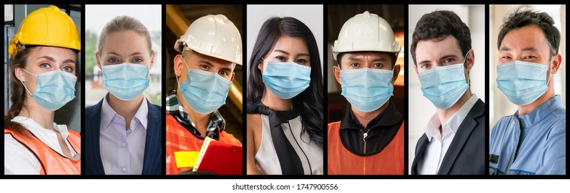 Diverse people with face mask protected from Coronavirus or COVID-19 photo set in banner concept of person fighting 2019 coronavirus disease COVID-19 pandemic outbreak.