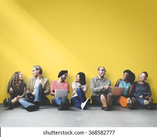 Diverse People Friendship Digital Device Copy Space Concept