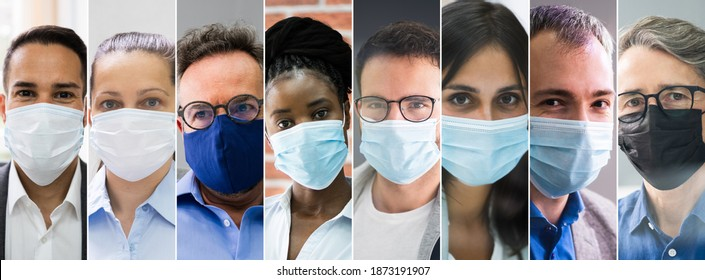 Diverse People Group Wearing Face Mask Collage
