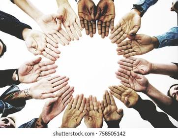 Diverse People Hands Together Partnership