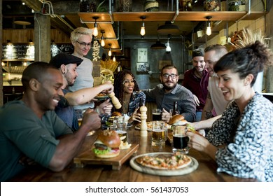 Diverse People Hang Out Pub Friendship