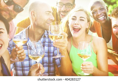 Diverse People Luncheon Outdoors Food Concept