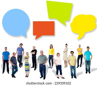 Diverse people posing with speech bubbles