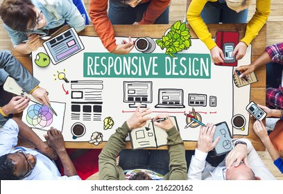 Diverse People Working and Responsive Design Concept