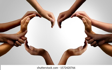 Diverse people working together and group unity or diversity partnership as teamwork cooperation or togetherness collaboration concept with hands joined together as connected citizens.