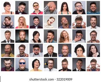 Diverse people's faces. Collage of diverse multi-ethnic and mixed age people expressing different emotions and feelings.