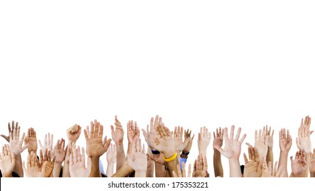 Diverse Raised Hands