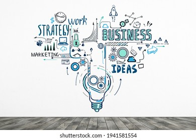 Diverse set of doodle icons and sketches drawn on white wall. Strategy, marketing and business ideas for start up. 3D rendering