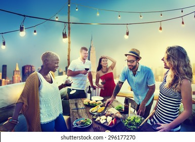 Diverse Summer Party RoofTop Fun Concept